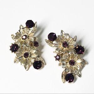 Vintage Flower & Purple Rhinestone Clip Earrings